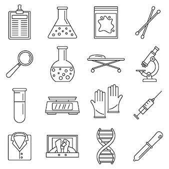 Conjunto de ícones de laboratório de investigação de dna