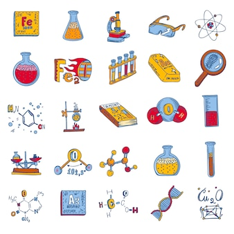 Conjunto de ícones de laboratório de química
