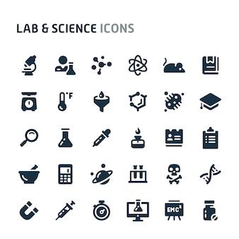 Conjunto de ícones de laboratório e ciência. série de ícone preto fillio.