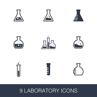 Conjunto de ícones de laboratório. sinais de glifo de design simples. molde do símbolo do laboratório. ícone de estilo universal, pode ser usado para interface de usuário da web e móvel
