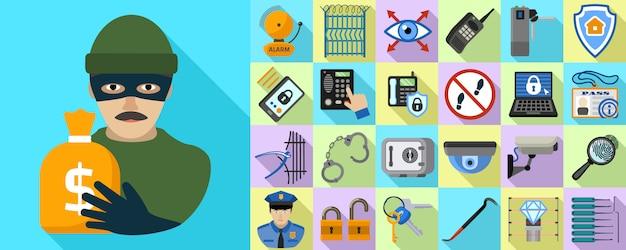 Conjunto de ícones de ladrão. conjunto plano de vetor de ladrão
