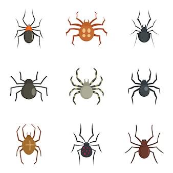 Conjunto de ícones de lagarta de bug de aranha