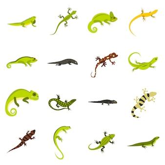Conjunto de ícones de lagarto