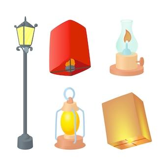 Conjunto de ícones de lâmpada de rua