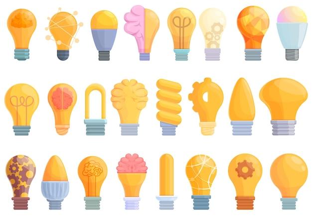Conjunto de ícones de lâmpada inteligente. conjunto de desenhos animados de ícones vetoriais de lâmpada inteligente para web design