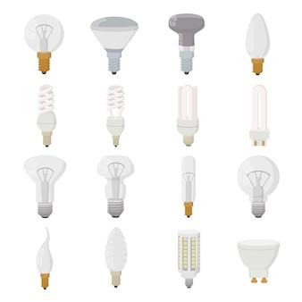 Conjunto de ícones de lâmpada no estilo cartoon isolado