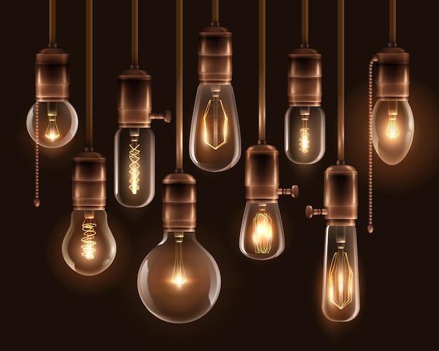 Conjunto de ícones de lâmpadas brilhantes vintage