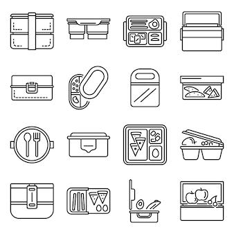 Conjunto de ícones de lancheira. conjunto de contorno de ícones de vetor de lancheira