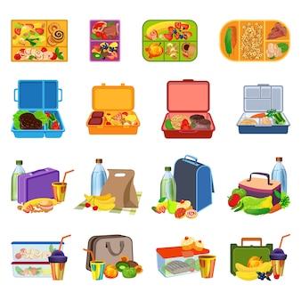Conjunto de ícones de lancheira. conjunto de desenhos animados de ícones de lancheira