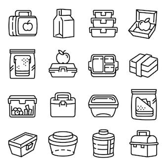 Conjunto de ícones de lancheira, estilo de estrutura de tópicos