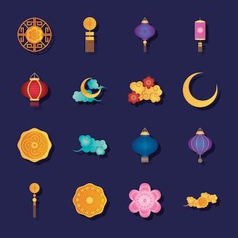 Conjunto de ícones de lanternas chinesas e meados do outono sobre fundo roxo, estilo detalhado