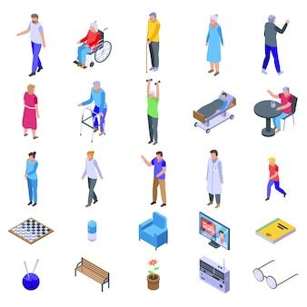 Conjunto de ícones de lar de idosos, estilo isométrico