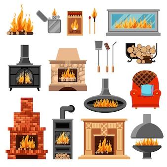 Conjunto de ícones de lareiras