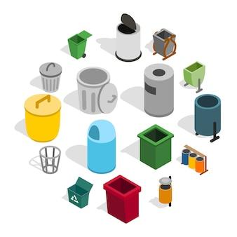 Conjunto de ícones de lata de lixo, estilo isométrico