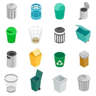 Conjunto de ícones de lata de lixo