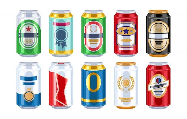 Conjunto de ícones de latas de cerveja.