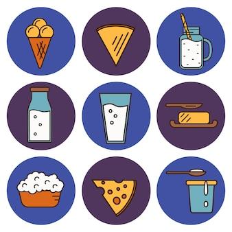 Conjunto de ícones de laticínios no design de estilo de linha