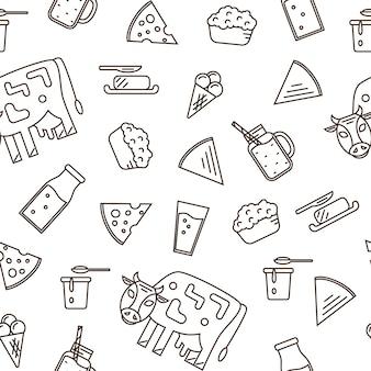 Conjunto de ícones de laticínios no estilo de linha