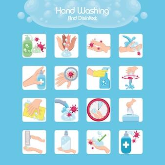 Conjunto de ícones de lavagens de mão