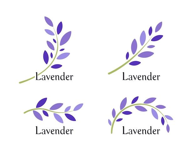 Conjunto de ícones de lavanda. folhas violetas e ramo verde de alfazema. modelo de logotipo de erva natural. ilustração vetorial