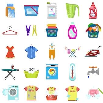 Conjunto de ícones de lavanderia. conjunto plano de vetor de roupa