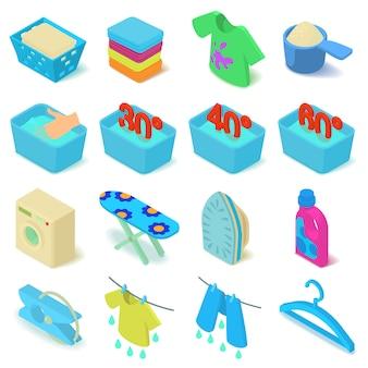 Conjunto de ícones de lavanderia. ilustração isométrica de 16 ícones de vetor de lavanderia para web