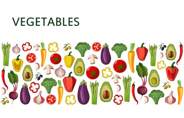 Conjunto de ícones de legumes em estilo cartoon em branco