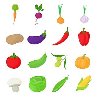 Conjunto de ícones de legumes em estilo cartoon