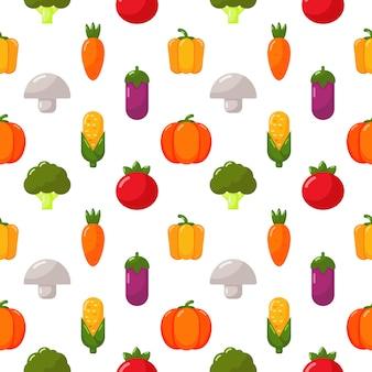 Conjunto de ícones de legumes sem costura padrão isolado no branco