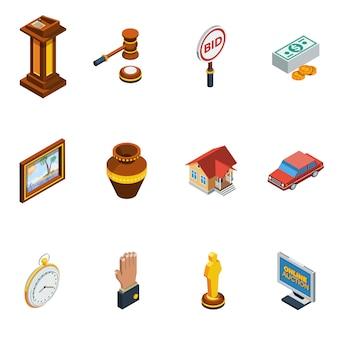 Conjunto de ícones de leilão isométrico