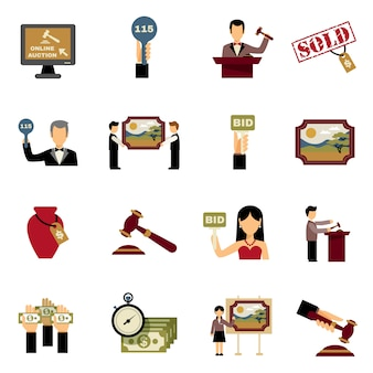 Conjunto de ícones de leilão