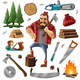 Conjunto de ícones de lenhador de desmatamento