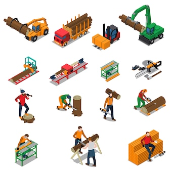 Conjunto de ícones de lenhador de serraria de madeira