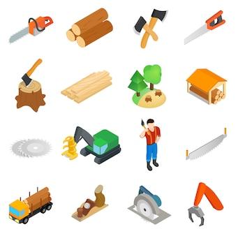 Conjunto de ícones de lenhador