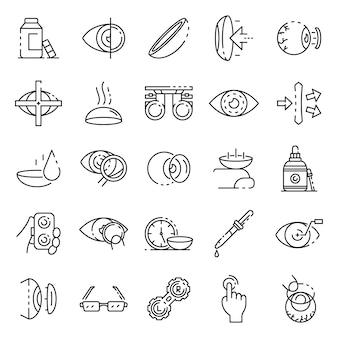 Conjunto de ícones de lente de contato, estilo de estrutura de tópicos