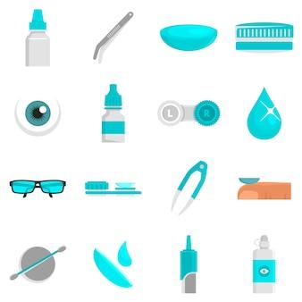 Conjunto de ícones de lente de contato