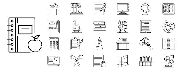 Conjunto de ícones de lição de casa, estilo de estrutura de tópicos