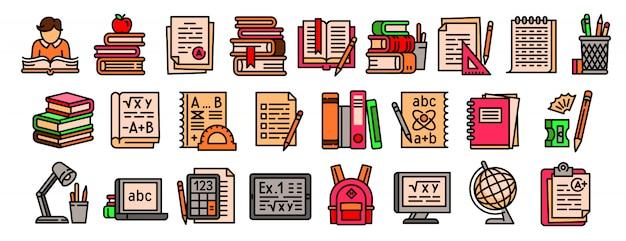 Conjunto de ícones de lição de casa