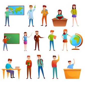 Conjunto de ícones de lição, estilo cartoon