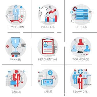 Conjunto de ícones de liderança de equipe de negócios de gerenciamento de força de trabalho