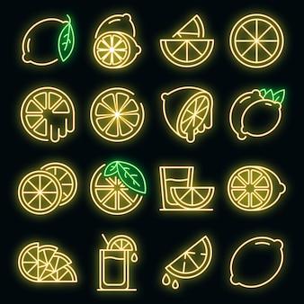 Conjunto de ícones de limão. contorno de conjunto de ícones de vetor de limão neoncolor em preto