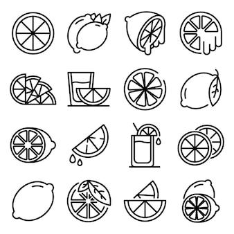 Conjunto de ícones de limão, estilo de estrutura de tópicos