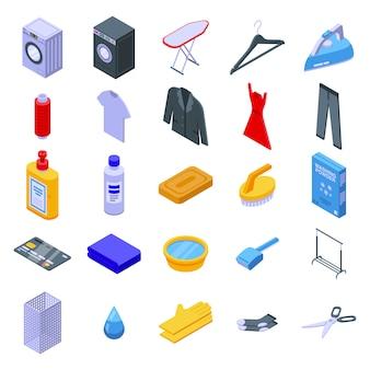 Conjunto de ícones de limpeza a seco, estilo isométrico