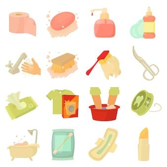 Conjunto de ícones de limpeza de higiene