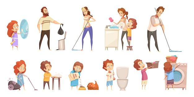 Conjunto de ícones de limpeza dos desenhos animados de família