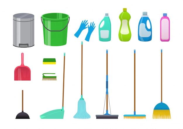Conjunto de ícones de limpeza. ilustração isolada no branco.