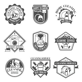 Conjunto de ícones de limpeza isolado