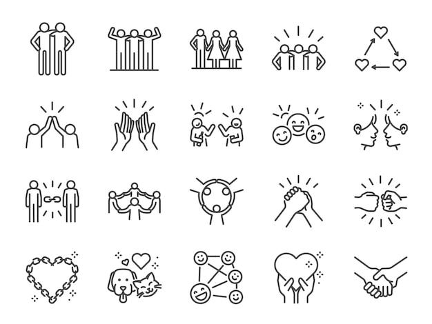Conjunto de ícones de linha amizade.