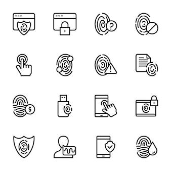 Conjunto de ícones de linha biométrica