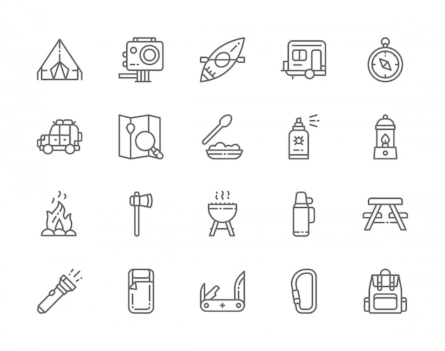 Conjunto de ícones de linha camping. churrasco, canoa, reboque, lâmpada de gás, fogueira, machado, spray de insetos, lanterna, comida para caminhadas e muito mais.